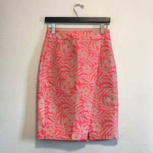 J.Crew Pink Neon Tropical Floral Pencil Skirt 0
